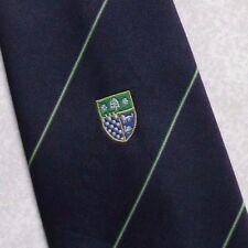 Tie Rack SCUDO Crest Motivo Cravatta Vintage con 1980s 1990s NAVY COLLEGE SOCIETY