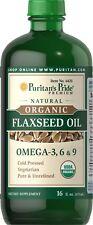 New Puritan's Pride Nature Organic Flaxseed Oil-16 fl oz Liquid , Cold Pressed