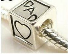 STERLING SILVER FINISH MOM, DAD HEART CHARM BEAD