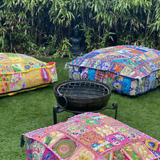"""Indian Boho Square Patchwork Floor Pillow Cushion Cover Ottoman Pouf Dog Bed 22"""""""