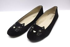 Cat Flats Kitty Loafers Black Size US 10-10.5 EU 41