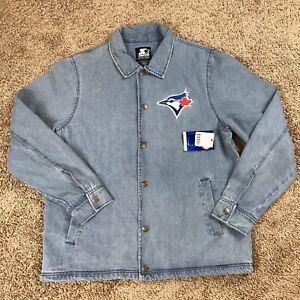 Starter Black Label Toronto Blue Jays mens large denim jacket new