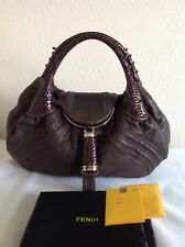 Authentic Fendi Spy Nappa Brown Leather W/Woven Handles Handbag Bag~Gorgeous