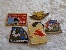 Job lot of 5 French Air force military aircraft metal lapel pins