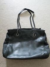 AUTHENTIC PRADA_Black Leather Chain Shoulder Tote Bag