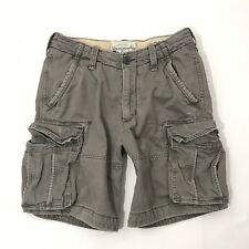 Abercrombie & Fitch Cargo Shorts Size 31 Mens Distressed Gray Chino Heavy Cotton