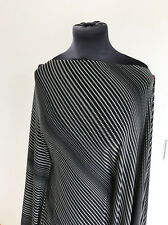 Monochrome Micro Shape & Stripe Stretch Jersey Heavy Drape Dressmaking Fabric