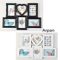 Arpan 6 Multi Aperture Vintage Style White or Black '6 X 4' Photo Picture Frame
