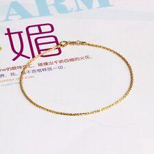 "6.7"" Pure Solid 18k Yellow Gold Bracelet Women Men Lucky Full Star Link Chain 1g"