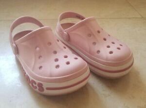 Crocs Bayaband Clog - Petal Pink - Unisex Kids/Juniors Size J1 -Slip-On Sandals