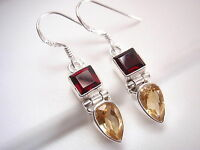 Small Faceted Citrine and Garnet 925 Sterling Silver Dangle Earrings