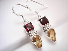 Very Small Faceted Citrine and Garnet 925 Sterling Silver Dangle Earrings