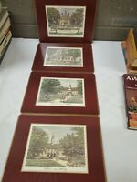 Set Of 4 Vintage Cork Backed Pimpernel Placemats of Colonial Williamsburg w/box