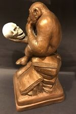 Vintage Austin Productions Monkey w/ Skull After Reinhold Sculpture Darwin 1962