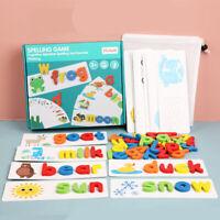 Wooden Alphabet Letter Learning Cards Set Word Spelling Practice Game bara