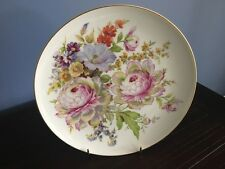 Pretty Floral Peonie Large Sophienthal Cake Plate Made in Germany Gild Rim