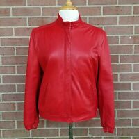 JOHNSON LEATHERS San Francisco Moto Red Soft Leather Motorcycle Jacket Women's S