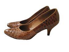 Vintage Handmade 1950's Brown Alligator Skin Leather High Heel Shoes