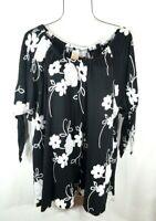 New Women's Black & White Floral Print Boho Tunic Peasant Top Blouse 2X NWT