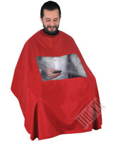 Capes Gowns Transparent View Phone Magazine Barber Salon Hairstylist Red Colour