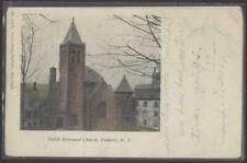 Postcard Yonkers Ny Early 1900's Dutch Reformed Church w/Tall Bell Tower 1906