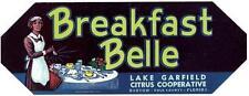 Breakfast Belle Unused Vintage Florida Citrus Crate Label Bartow, Fl. Black Maid