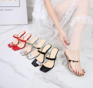 Women's Square Toe Ring Toe Sandals Mules Slip On Open Toe Kitten Heels Slipper