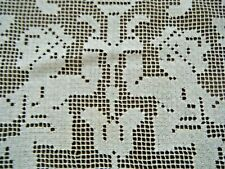 Victorian Figural darned filet net lace fragment royal children H done salvage.