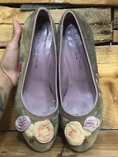 OL'Autre Chose  Green Suede Leather Italian Made Pumps Womens Sz 39.5