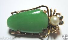 Antique Art Deco Vintage Jadeite Grasshopper Pin Hallmark LW20 14K Yellow Gold