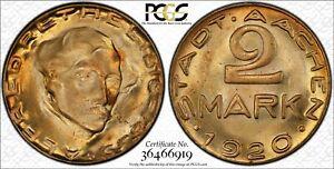 1920 Germany Aachen 2 Mark Notgeld Funck 1.17 PCGS MS64 Lot#A206 Choice UNC!