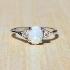 White Fire Opal 925 Silver Gemstone Women Jewelry Ring New Size 5 6 7 8 9 10 11