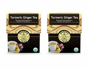Organic Turmeric Ginger Tea -  18 Bleach Free Tea Bags (2 Pack)