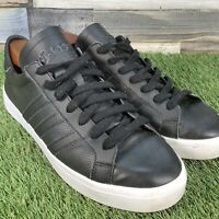 UK9 Adidas Court Vantage Black Leather Low Top Trainers - BZ0442 - Retro EU43