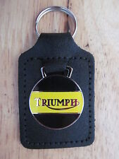 45026BY TRIUMPH MOTORCYCLE BLACK & YELLOW LEATHER KEY FOB / KEYRING