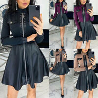 Womens  A-Line Mini Dress Skirt Splicing Leather Short Dress Party Club Wear