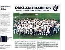 1980 SUPER BOWL XV  CHAMPIONS OAKLAND RAIDERS 8X10 TEAM PHOTO  FOOTBALL