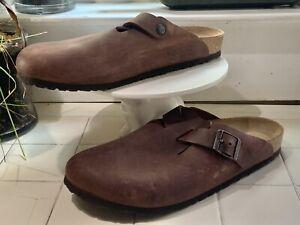 Birkenstock Boston Leather Brown Clogs Slides Suede Mens Size EU 45 US 12