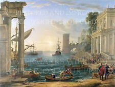 Medieval Seaport Queen of Sheba ships painting Claude Lorrain 1648 restored repr