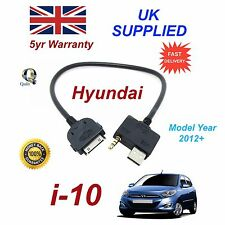 For Hyundai i10 iPhone 3 3gs 4 4S iPod USB & Aux Audio Cable MY 2009-11