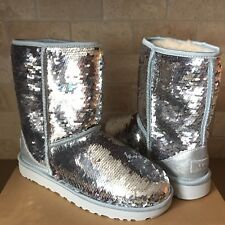 UGG Classic Short Silver Sparkles Sequin Sheepskin Boots Size US 10 Womens