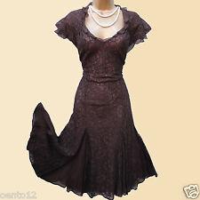 Rare Karen Millen Brown Vintage Lace Gothic Gatsby Flare Cocktail Dress 8 UK