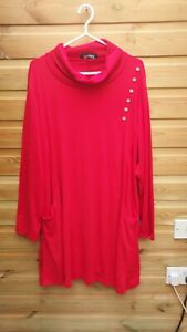 Ladies Stunning Red Stretch Roll Neck Jumper Dress with Pockets Size 4XL 22-24