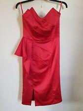 Costa-Rojo Sin Tirantes/Tiras Cremallera Noche Cóctel Vestido talla 14 -