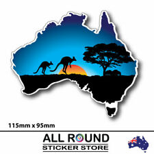 Australia-Map-sticker-with-kangaroo-sunset-bumper-sticker-for-car,-window,-lapto