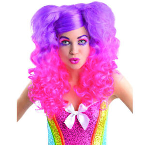 NEON PINK and PURPLE CURLY PONYTAILS WIG ~ Birthday Party Supplies Halloween