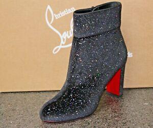 NIB CHRISTIAN LOUBOUTIN MOULAMAX 85 BLK VELVET GALACTICA Ankle Boots Shoes 38.5