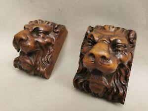 Antique Pair lion Head Gothic Carved Walnut ? Wood Corbel Bracket Salvage French