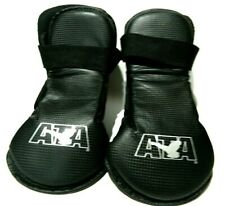 ATA Taekwondo Karate Black Vinyl Foot Gear Pads Sparring Boots Child Size 11