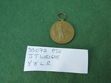WW 1 1914 - 1919 VICTORY MEDAL TO 33072 PRIVATE J T WRIGHT YORK & LANC REGT